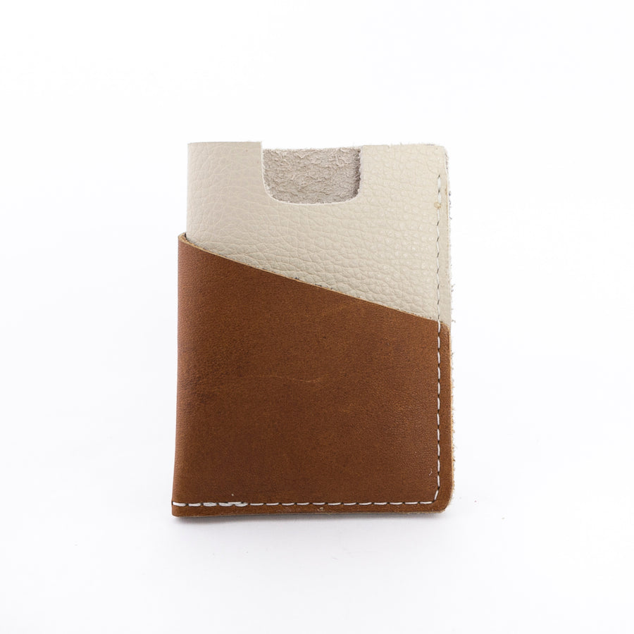the brockman wallet - brown and cream leather - unisex - minimalistic design