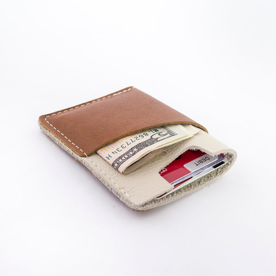 the brockman wallet with cash and cards - styled shot - inside shot