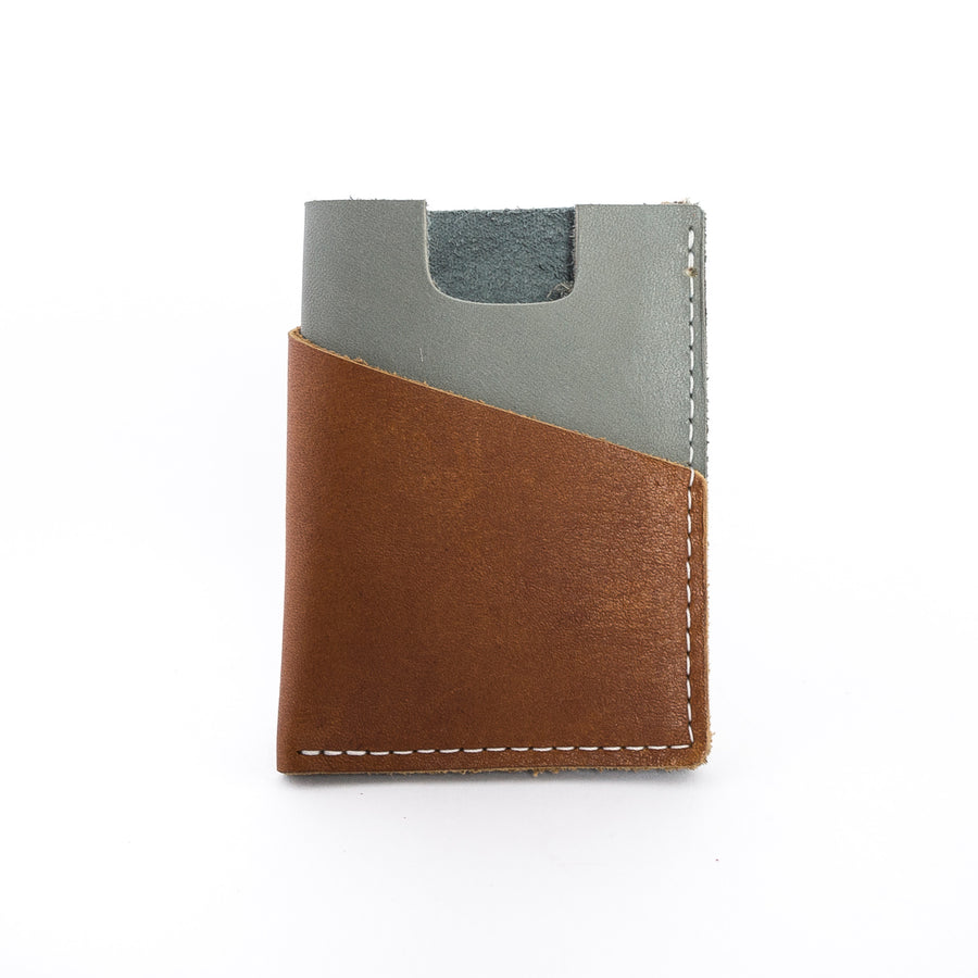 the brockman wallet in gray - cash and cards - minimalist design - front view