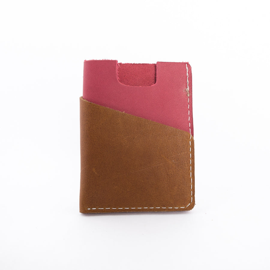brown and red leather wallet - hand stitched in Maine - high quality