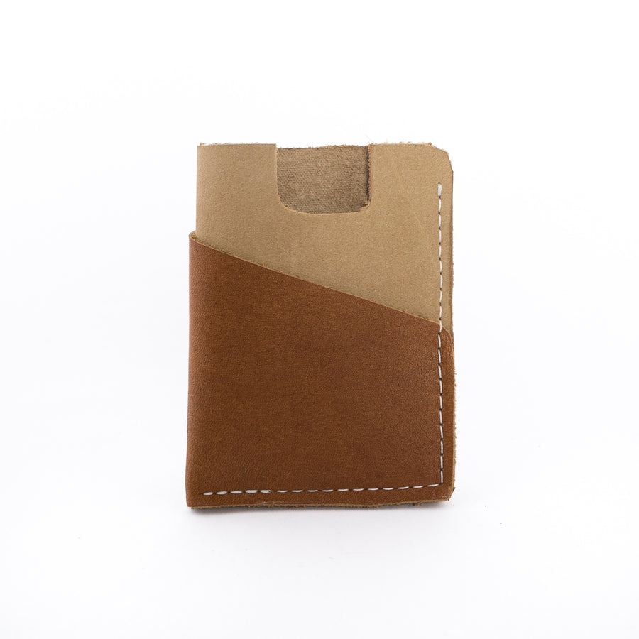 The Brockman Wallet in beige - handmade leather goods in Maine