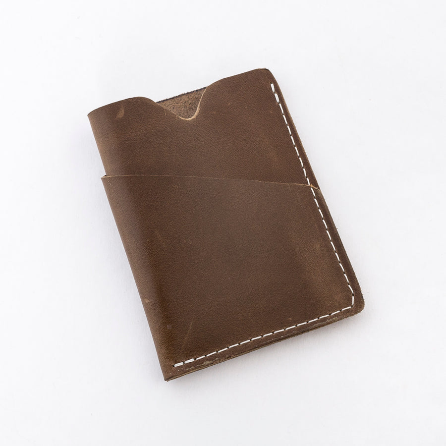 the brockman wallet in chocolate - durable leather - hand stitched - unisex