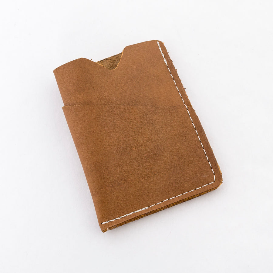 the brockman wallet in caramel - handmade in maine - leather goods