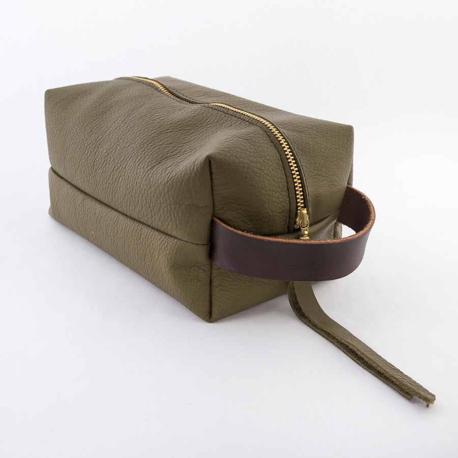 leather dopp kit in olive green - gold zipper closure - cosmetic bag - travel pouch - hand stitched