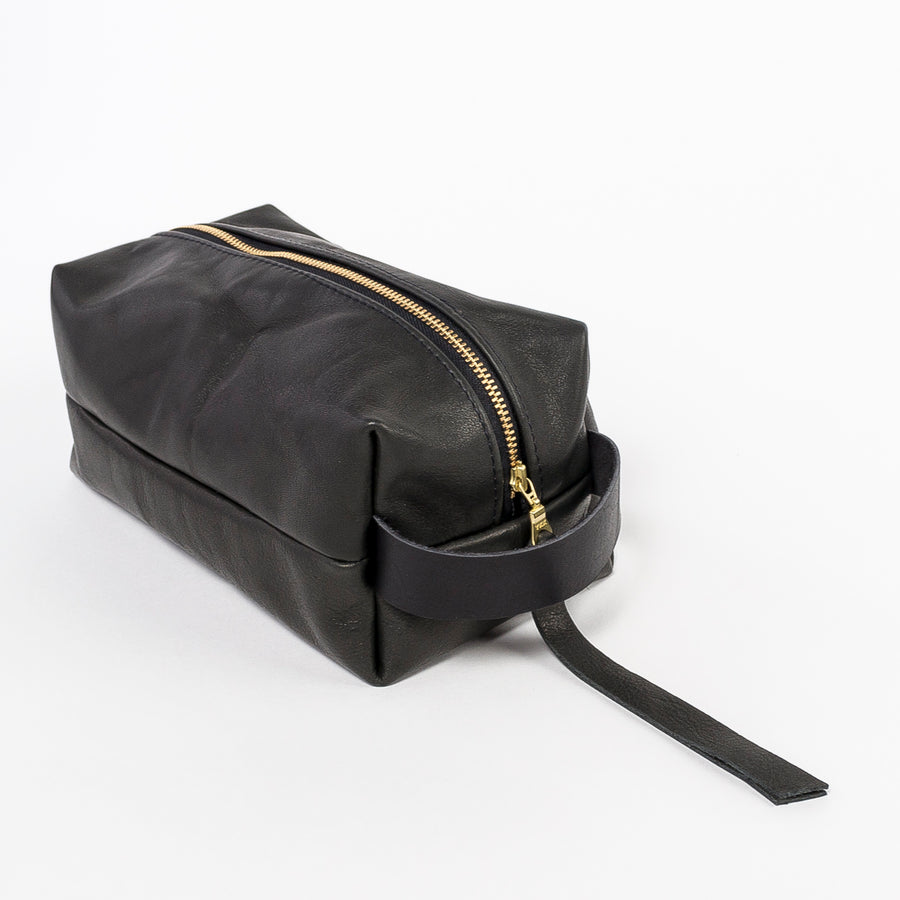 durable leather dopp kit in black - gold zipper - zipper pull - handmade in Maine - workshop item