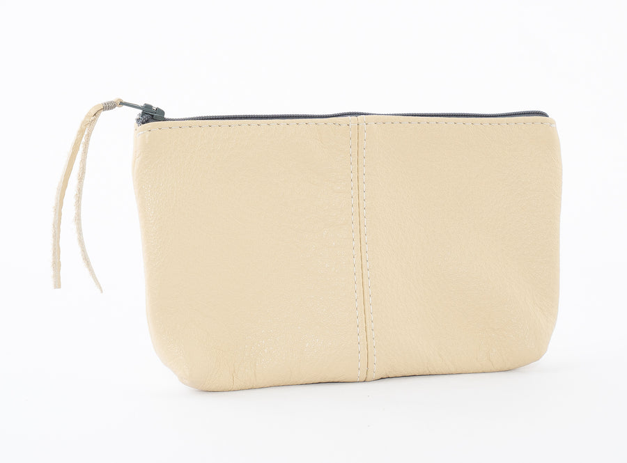 The Leather Pouch in Cream - Large Size