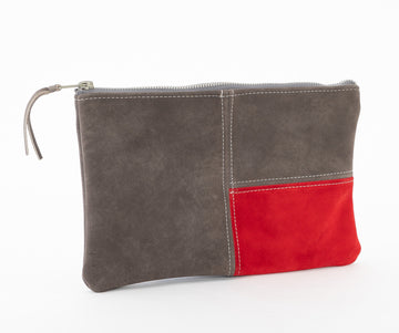 Suede Pouch, Gray/Red Mondrian Bag by Venn + Maker, side view