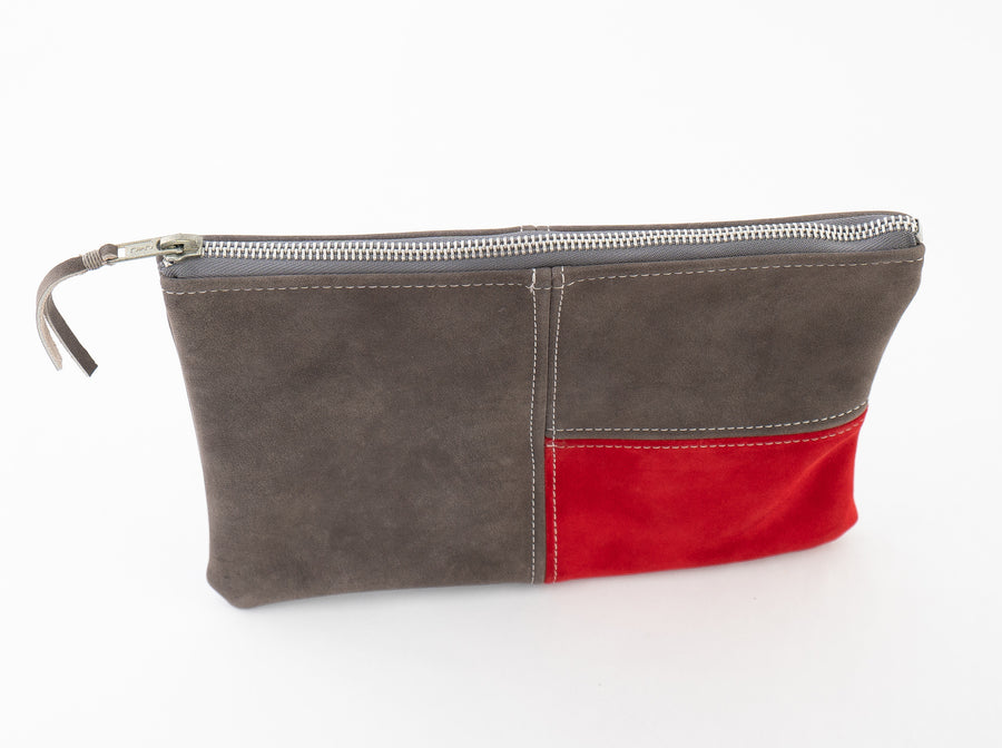 Mondrian Bag - Suede - Gray/Red