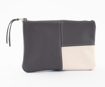 Mondrian Bag - Suede - Gray/White