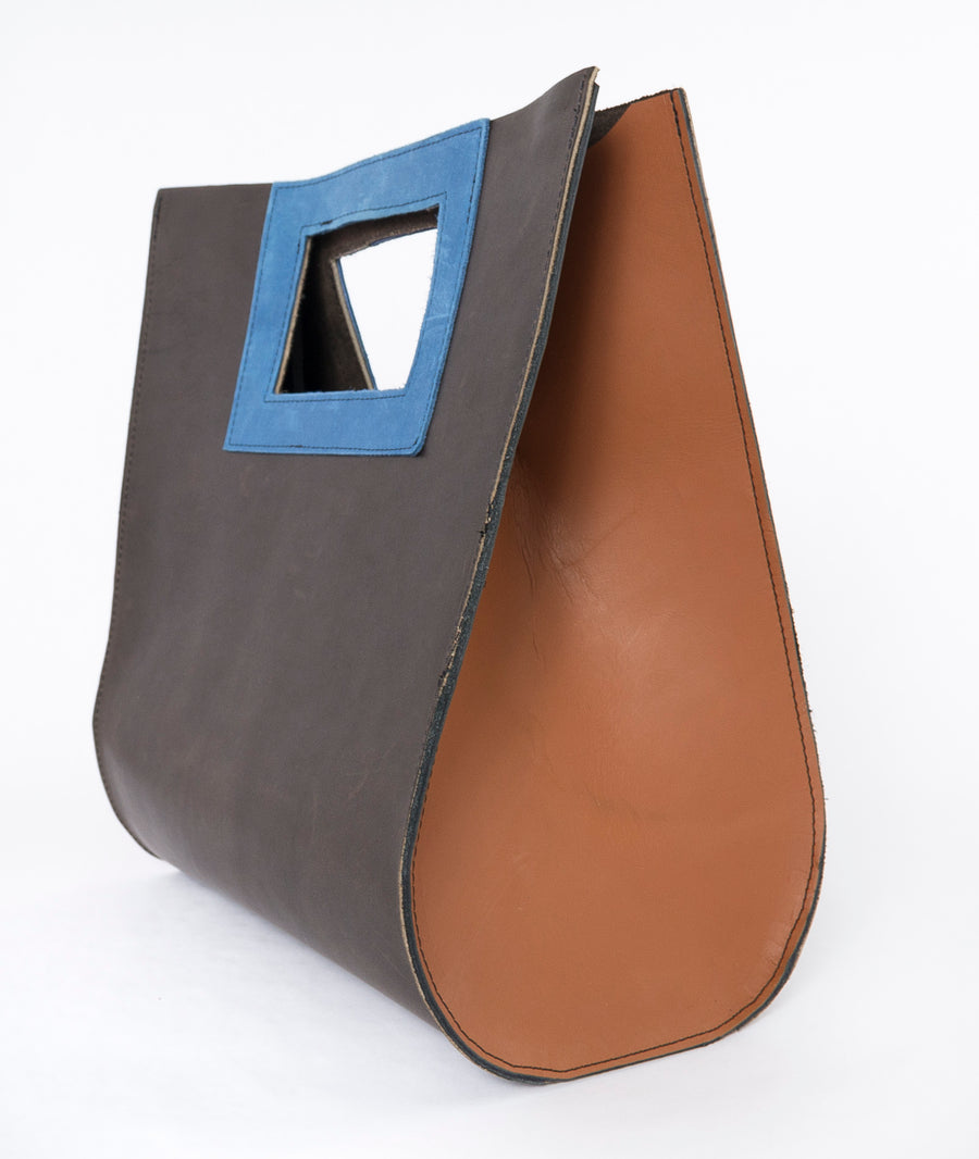 The Teardrop Bag in Leather, Azure Colored - Large - side view - blue