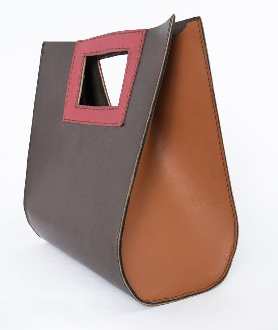 large leather teardrop handbag - rouge - red - sideview - bag