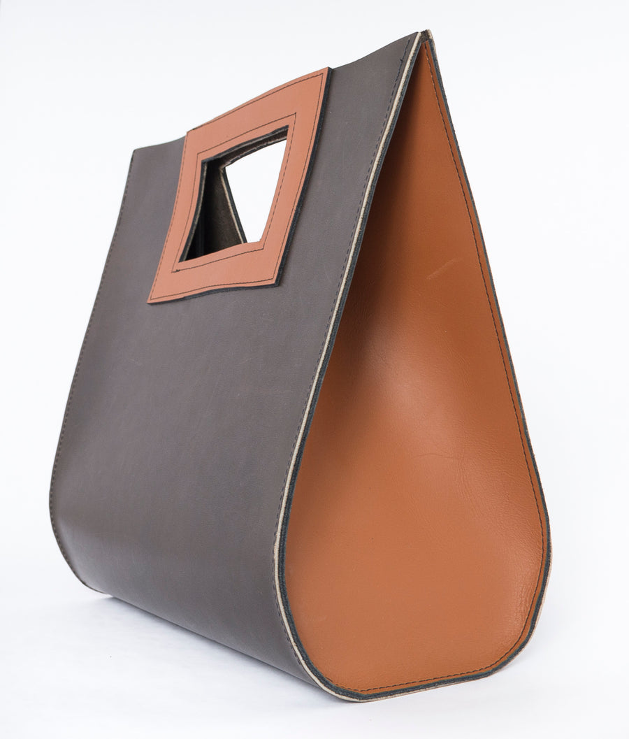 sideview - teardrop bag in cafe - brown leather - handbag - handmade - Wood.Stone.Bone