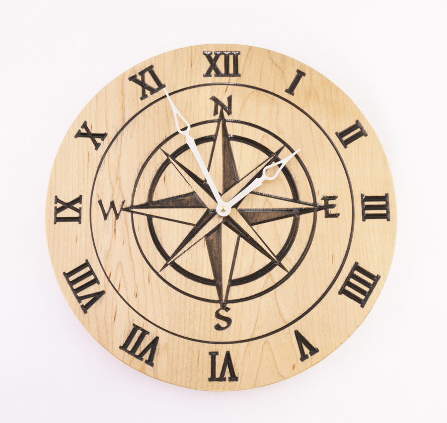 Compass Rose Carved on Oak