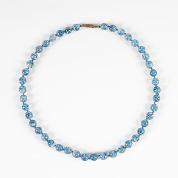 Blue Marbled Glass Necklace
