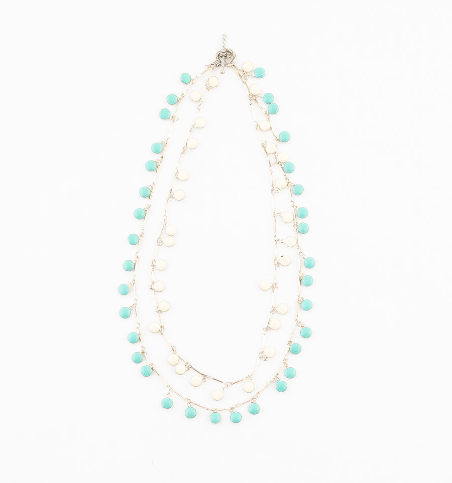 Ivory Turquoise Dots, Sterling Necklace