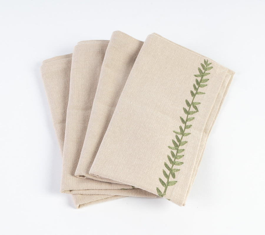 20 x 20 Cotton Napkin Embroidered Leaf