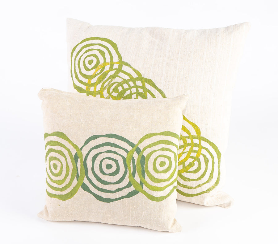 vintage french linen pillows collection shot - green printed - handmade in Maine