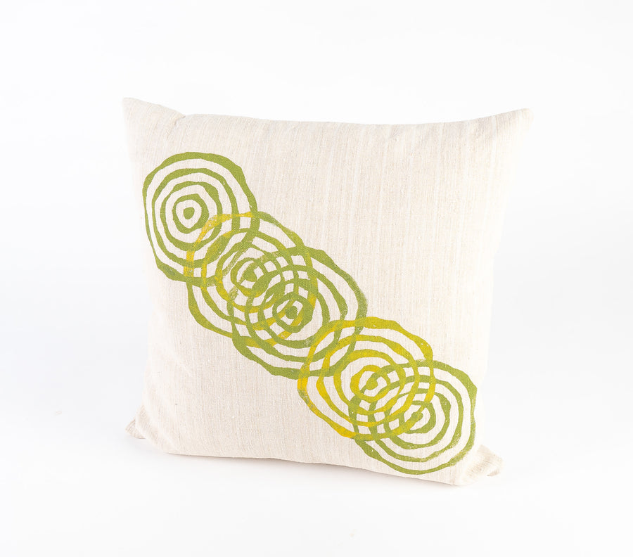 vintage french linen pillow in green - circle pattern - hand printed - home goods - home decor