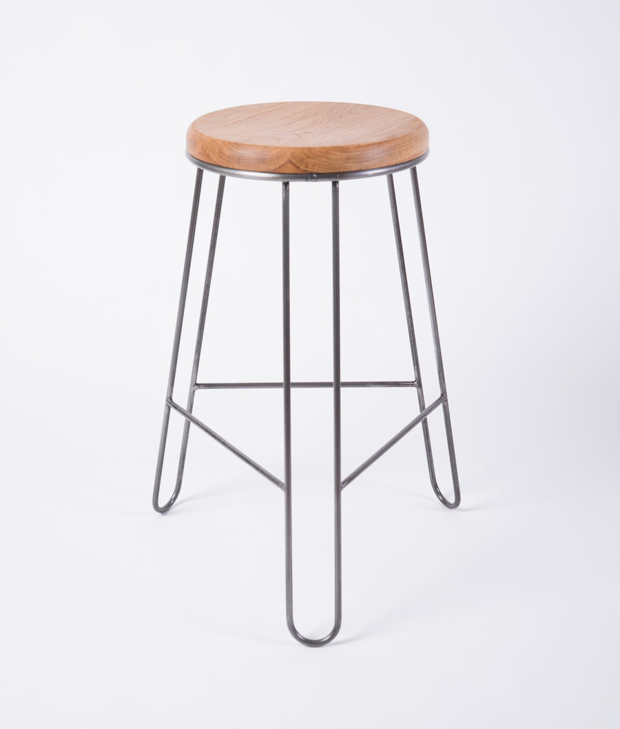 counter height steel and wood stool - clean design - quality furniture - white oak