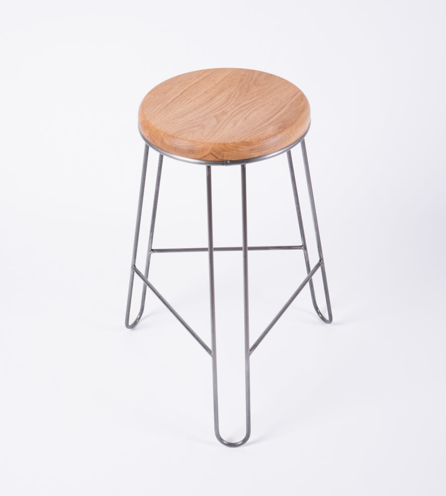 modern steel and wood stool seat view - white oak - midcentury furniture - becket street - portland - maine