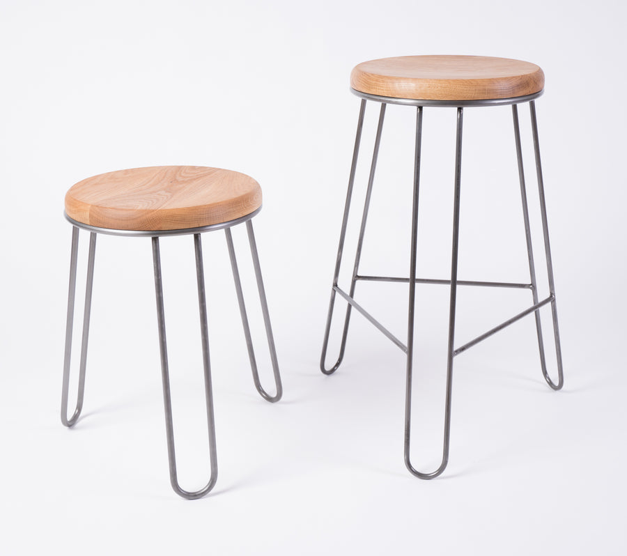 steel and wood stool collection shot - two sizes available - counter and dining height - seating - handmade furniture