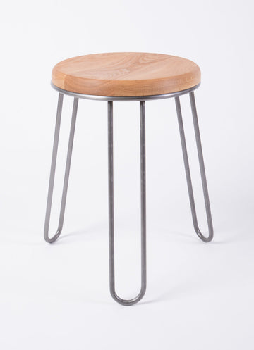 modern steel and wood stool - high-quality furniture - dining height - white oak wood