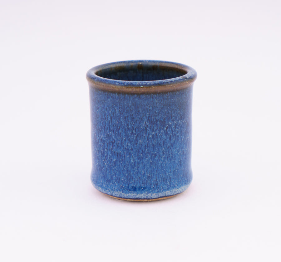 Stoneware Shot Cup - birds beak blue - pottery - bluff point collection