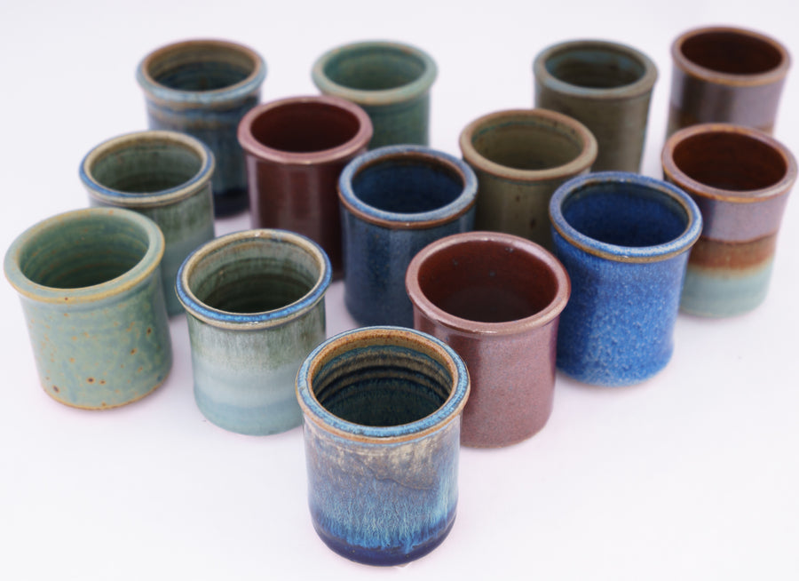 stoneware shot cups - group shot - collection image - bluff point collection - shut glass - handmade pottery