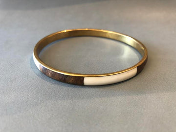 Vintage Wood & Brass Enamel Bangle
