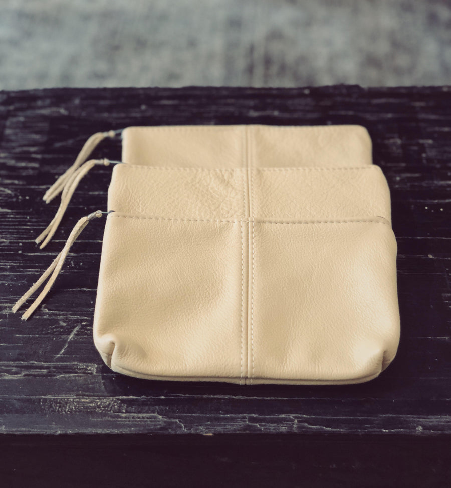 The Cream Large Leather Pouch - Handmade in Maine