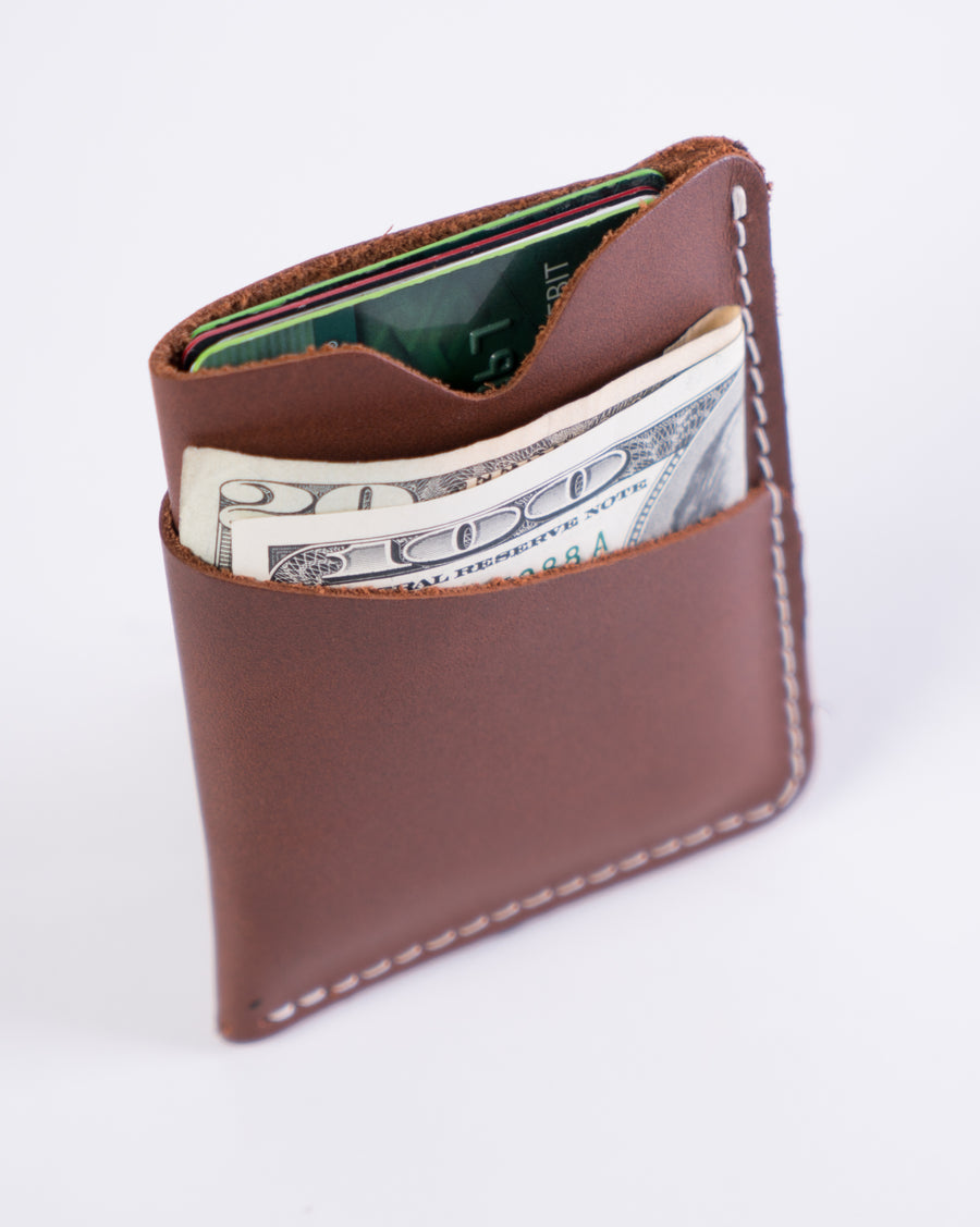 inside shot of the brockman wallet - brown leather - handmade in Maine out of durable materials