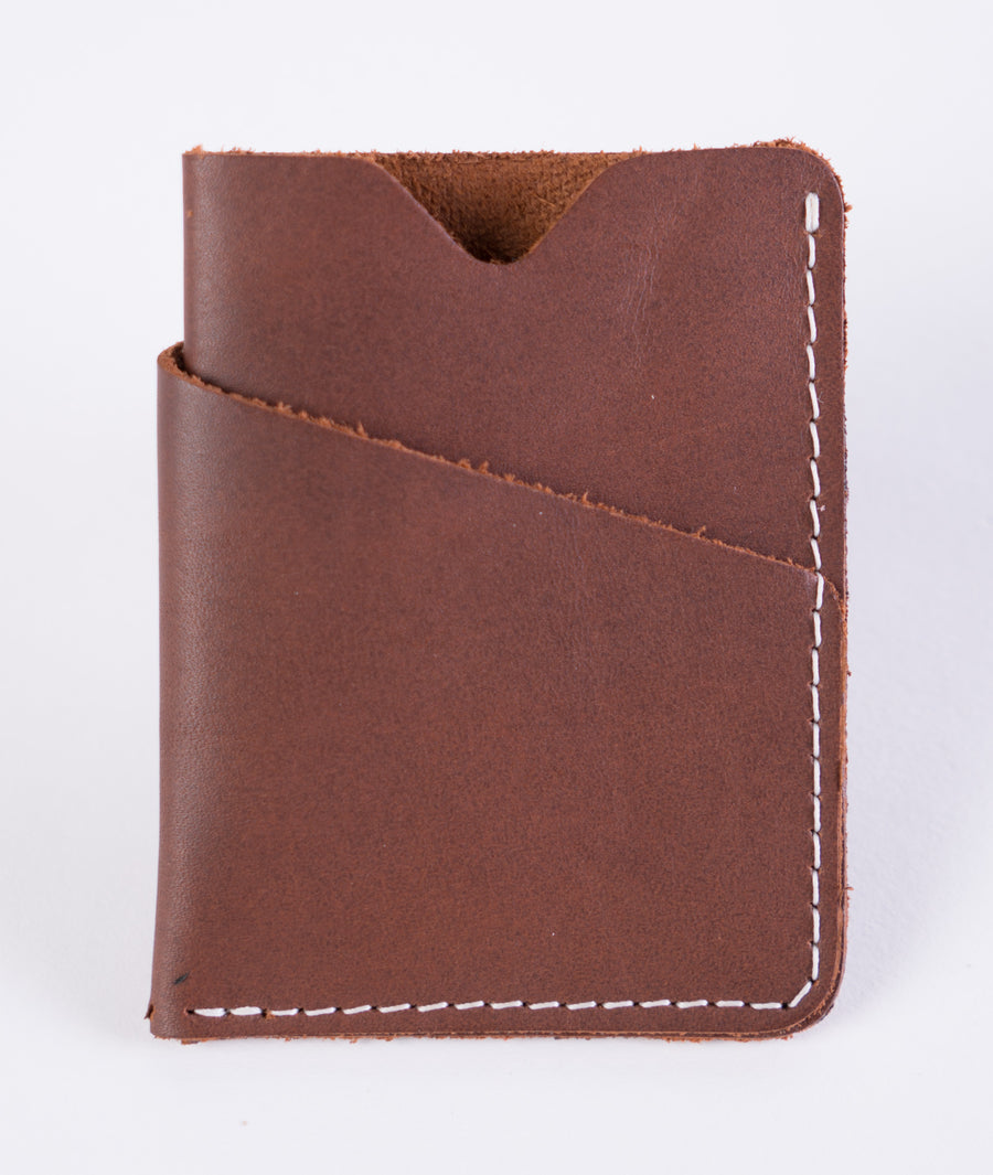 The brockman wallet in brown - hand stitched leather - card wallet - double pocket
