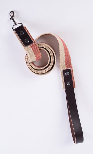 Handmade Dog Leash with Leather Handle and Vintage French Webbing