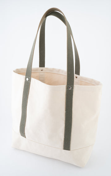 The field Tote - canvas and French webbing - olive green straps - cream canvas - front view - tote bag
