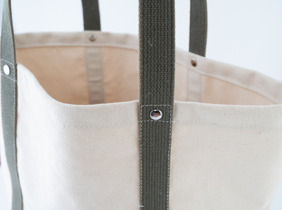 The Field Tote - vintage olive green french webbing - rivets - close up - detail shot - travel bag
