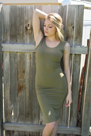 Emilia Bodycon Dress (Light Olive)