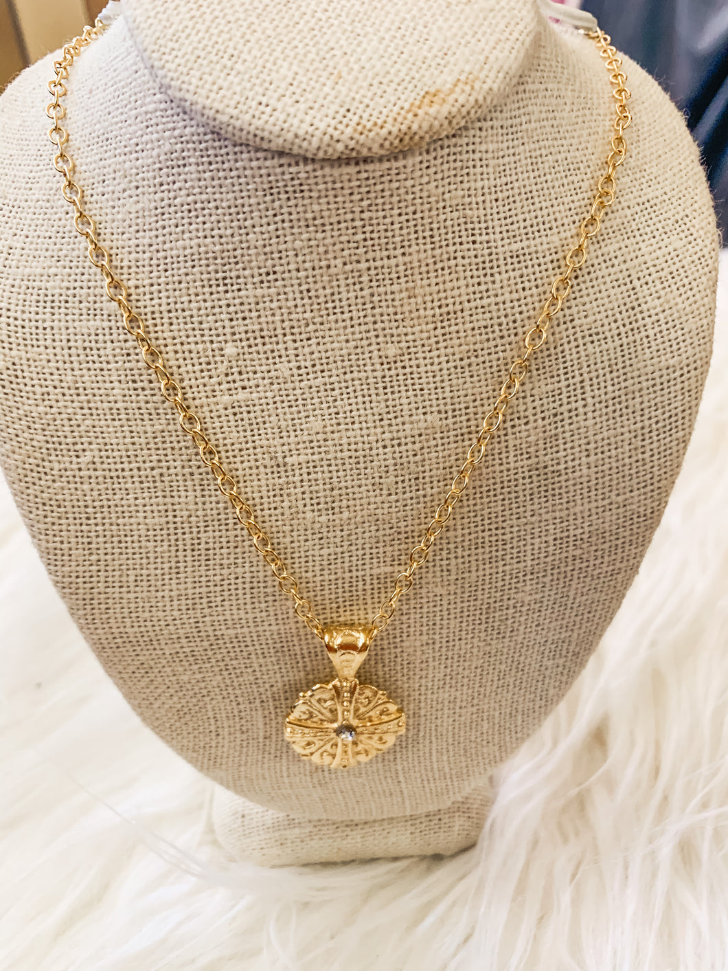 18k Gold Plated Necklace Small Medallion Cross Pendant with Tiny CZ