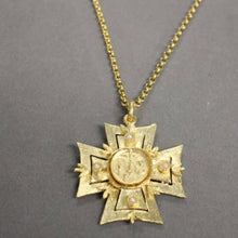 18k Gold Plated Maltese Cross w/Religious Medal and pearls