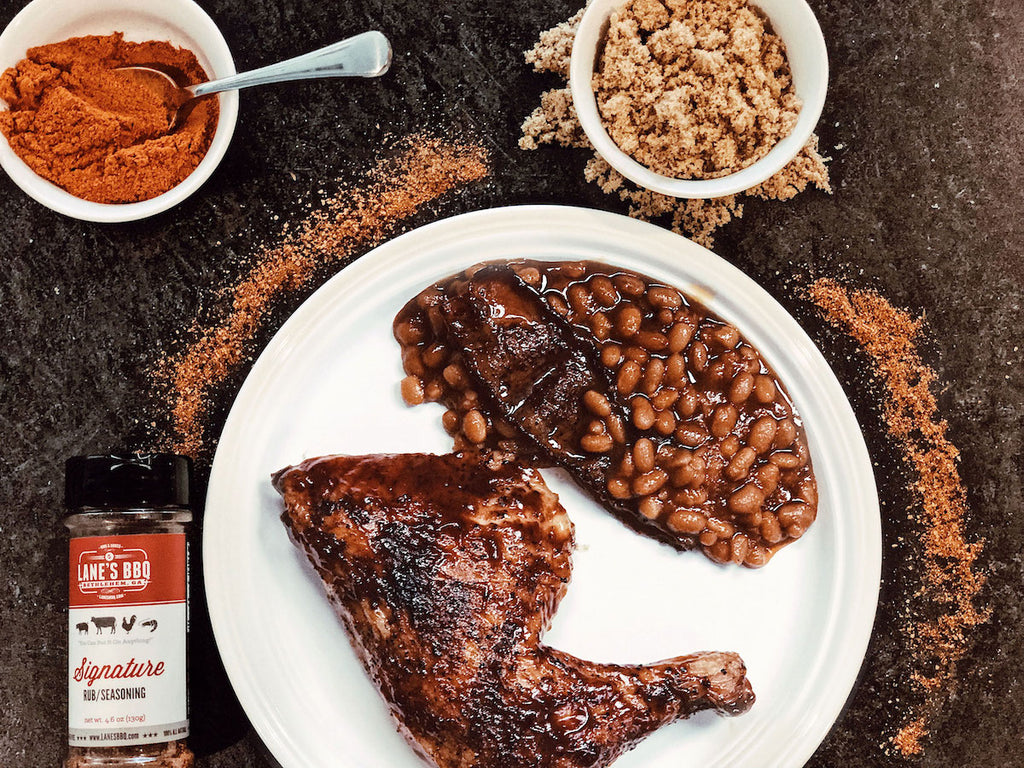 Signature Smoked Chicken Quarters and Baked Beans