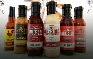 All Lane's BBQ Sauces in a row