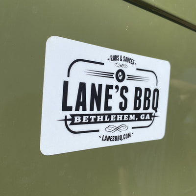 Lane's BBQ Brand sticker for coolers