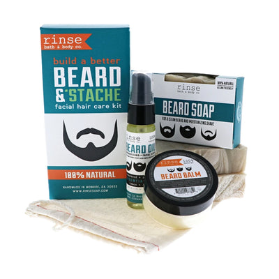 Mens Beard Kit with soap, oil, and balm