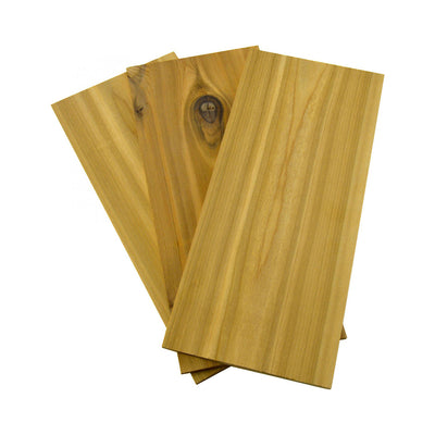 Top view of 3 pack cedar grilling planks