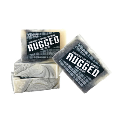 Rugged hand and body soap bars