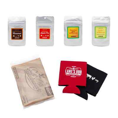 4 sample bags popcorn and koozies