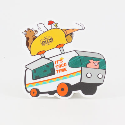 Taco truck sticker with animals riding