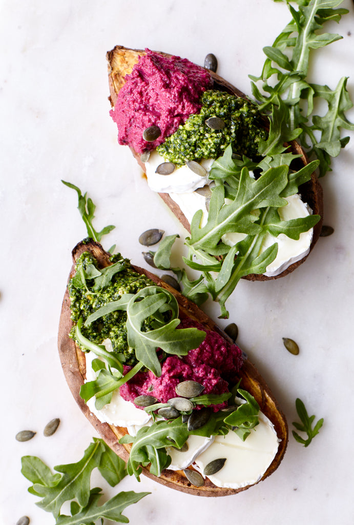 Baked Sweet Potato Boat with Goats Cheese, Vegan Pesto, Thyme Beetroot Dip Condiment