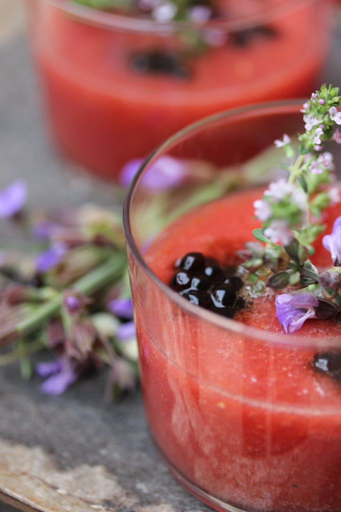 The Ultimate Gazpacho Soup Recipe with Balsamic Pearls Rosemary and Thyme