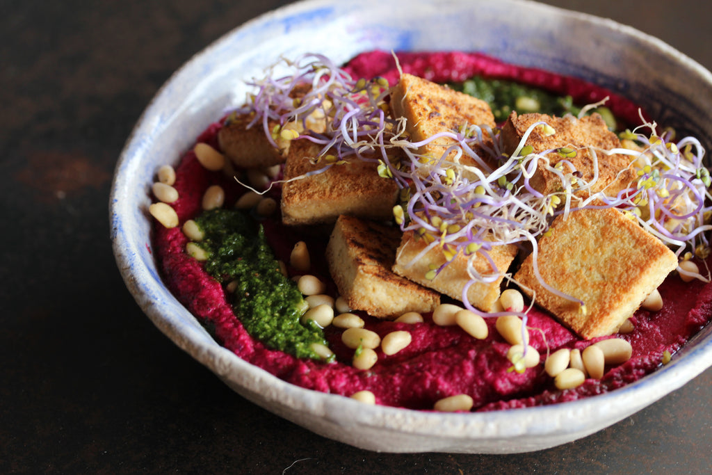 Beetroot Butterbean Dip with Vegan Pesto and Tofu #glutenfree #vegan #plantbased #appetizer