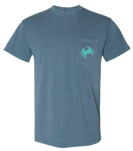 Blue Crab Pocket Tee - Blue Jean